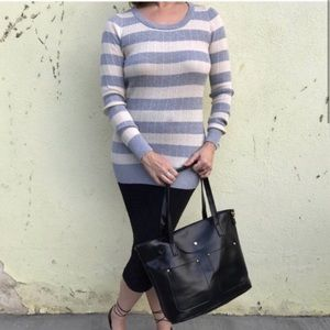 Pink rose STRIPED knit sweater TOP BLUE LONG L/XL